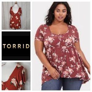 Torrid Super Soft Floral Button Babydoll Top